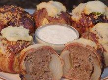 BBQ Bacon Meatball Stuffed Onions