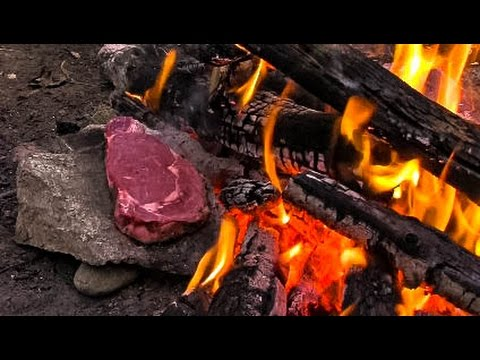 Cooking Meat for Primitive Survival on a Rock - I Love Grill